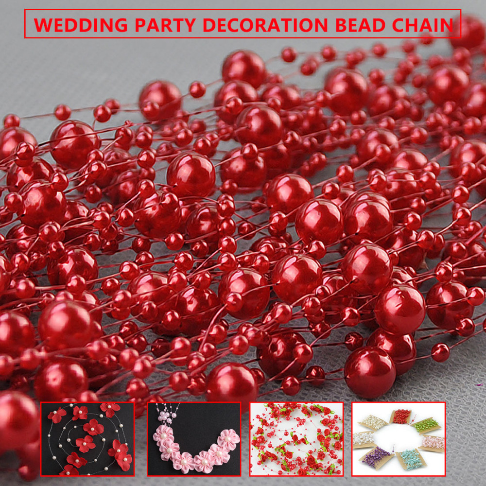 5m Fishing Line Pearl Bead Flower Chain Garland Wedding Festival Decor Red