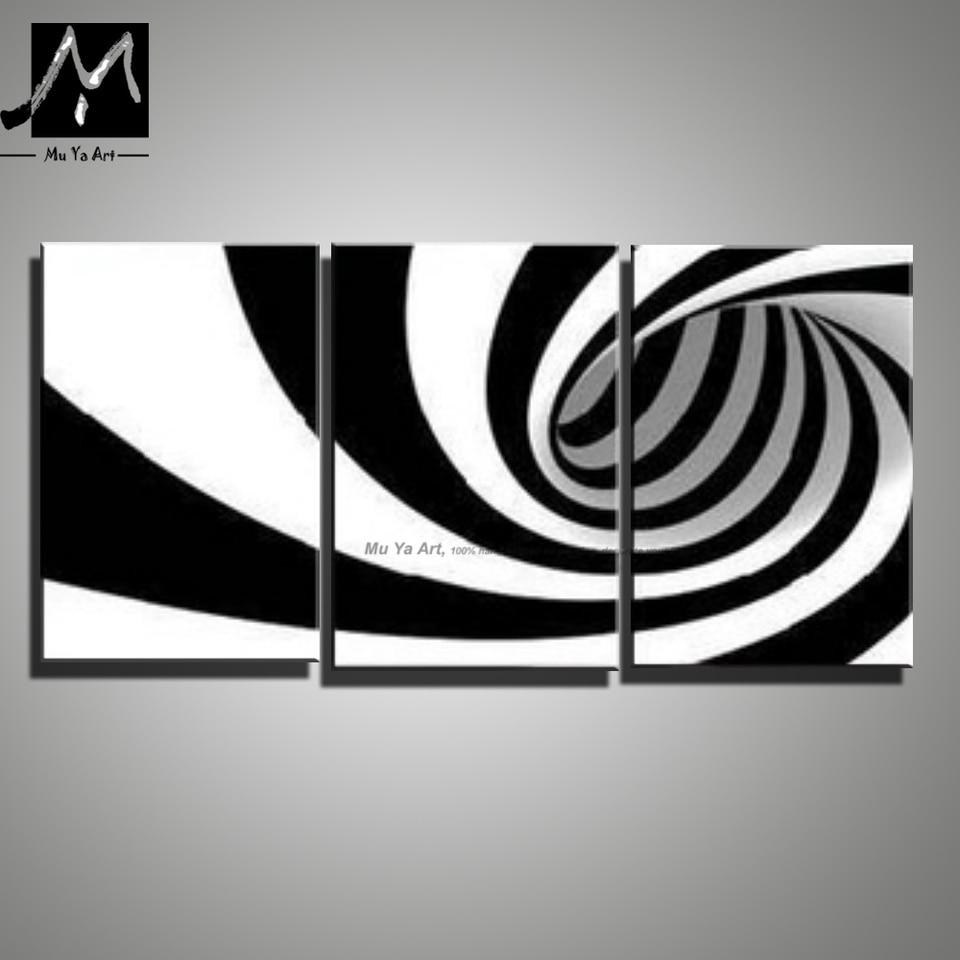 Nieuw 3 stuk canvas wall art zwart wit abstracte moderne kunst XP-86