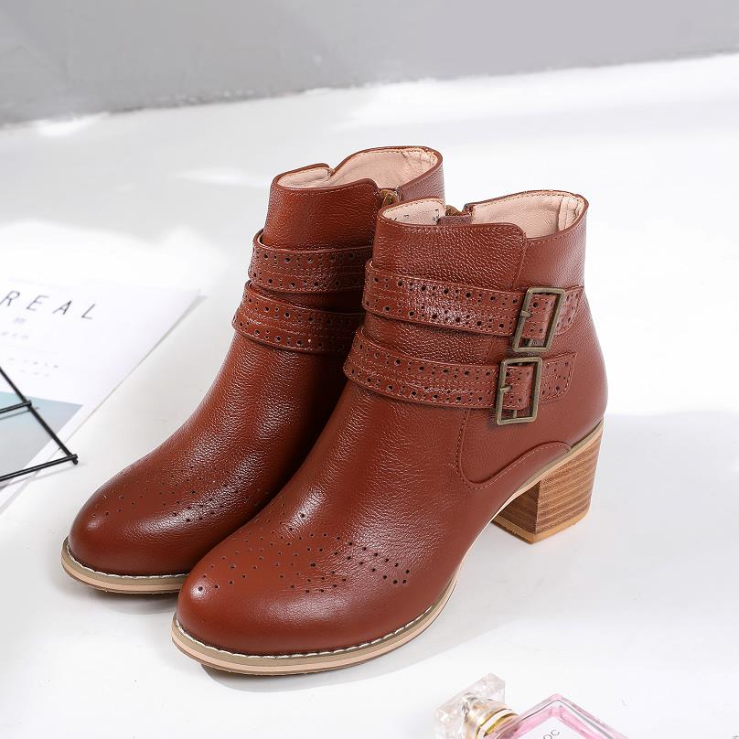 Genuine Leather Women Ankle Boots Buckle Round head Thick High Heels Female Boots 2019 New Women Shoes Black brown Boots-in Ankle Boots from Shoes    1