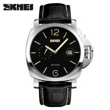 SKMEI Nueva Llegada Reloj de Cuarzo hombres de Negocios Clásico Dial Grande Relojes Hombres Relojes Deportivos Marca de Lujo de Cuarzo de Cuero Genuino-reloj