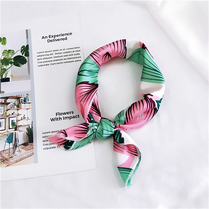 Korean 50x50cm Scarves Echarpe Small Kerchief Fashion Handle Bag Ribbon All-match Decoration Satin Square Scarf Party Gift