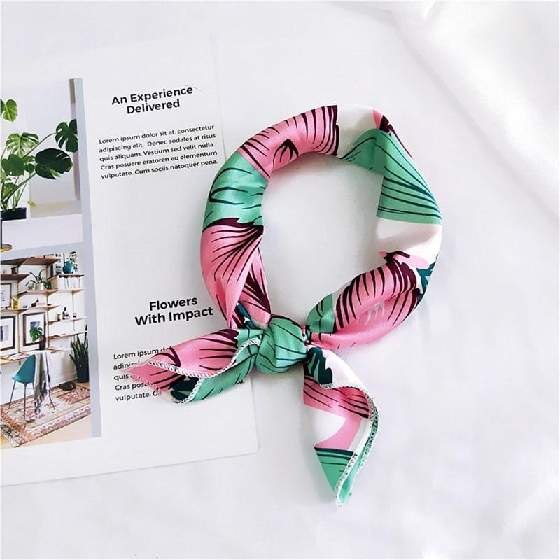Korean 50x50cm Scarves Echarpe Small Kerchief Fashion Handle Bag Ribbon All-match Decoration Satin Square Scarf Party Gift