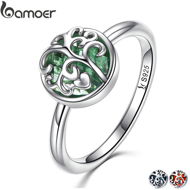 BAMOER Real 925 Sterling Silver Tree of Life Finger Ring Crystal Leaf Rings For