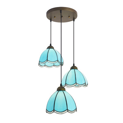 Mediterranean Style Tiffany Iron Stained Glass Coiled Pendant Lights 3 Heads Hanging Lamps for Home Decor, Bar, Restaurant tiffany baroque sunflower stained glass iron mermaid wall lamp indoor bedside lamps wall lights for home ac 110v 220v e27