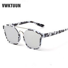 VWKTUUN Sunglasses Square Sunglasses Women Flower Frame Eyewear Twin Beam Sun Glasses For Women Men Brand Designer Oculos Points