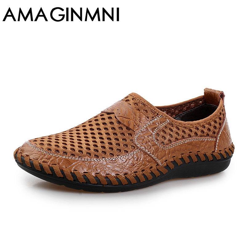 цены 2018 Summer Breathable Mesh Shoes Mens Casual Shoes Genuine Leather Slip On Brand Fashion Summer Shoes Man Soft Comfortable New