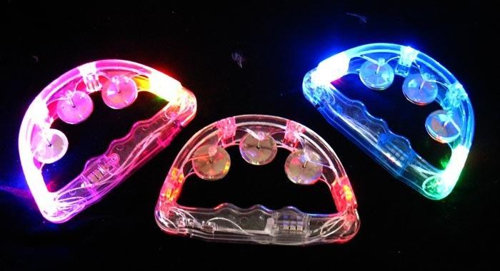 100pcs lot Colorful LED Flashing Baby Rattle Hand Bell Light Up LED Tambourine Luminous Toys Bar