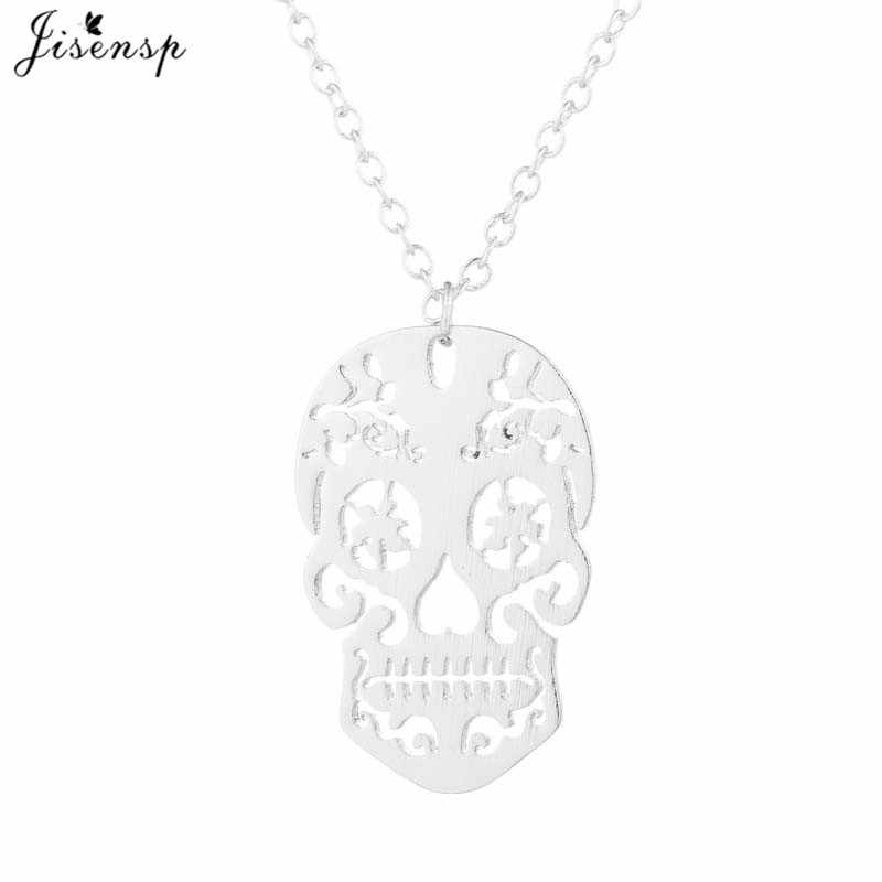 Jisensp Fashion Gothic Skull Necklace Stainless Steel Punk Skeleton Pendant & Necklace Jewelry for Men Women Halloween Gift