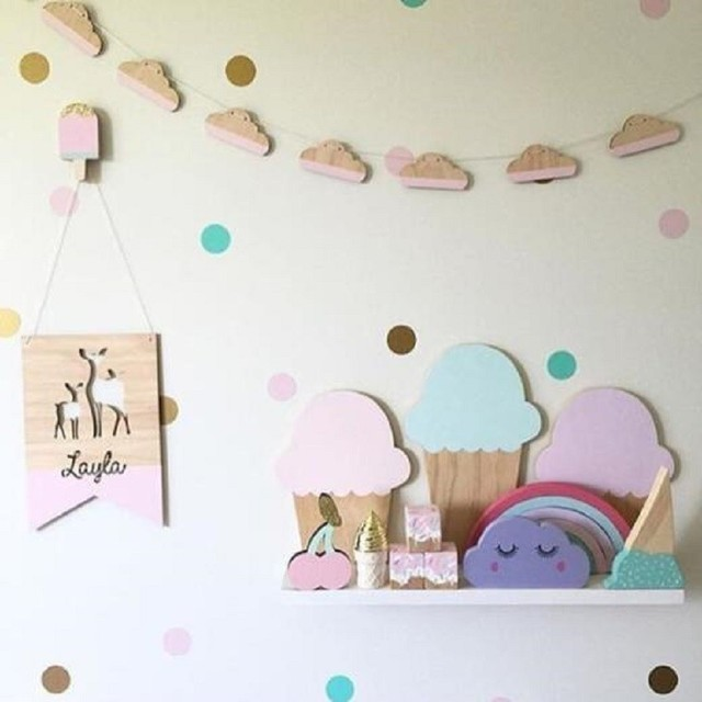 Awesome Nordic Style 10pcs/Set Natural Wooden Cloud Decoration DIY Banner For Kids Bedroom  Wall Decal