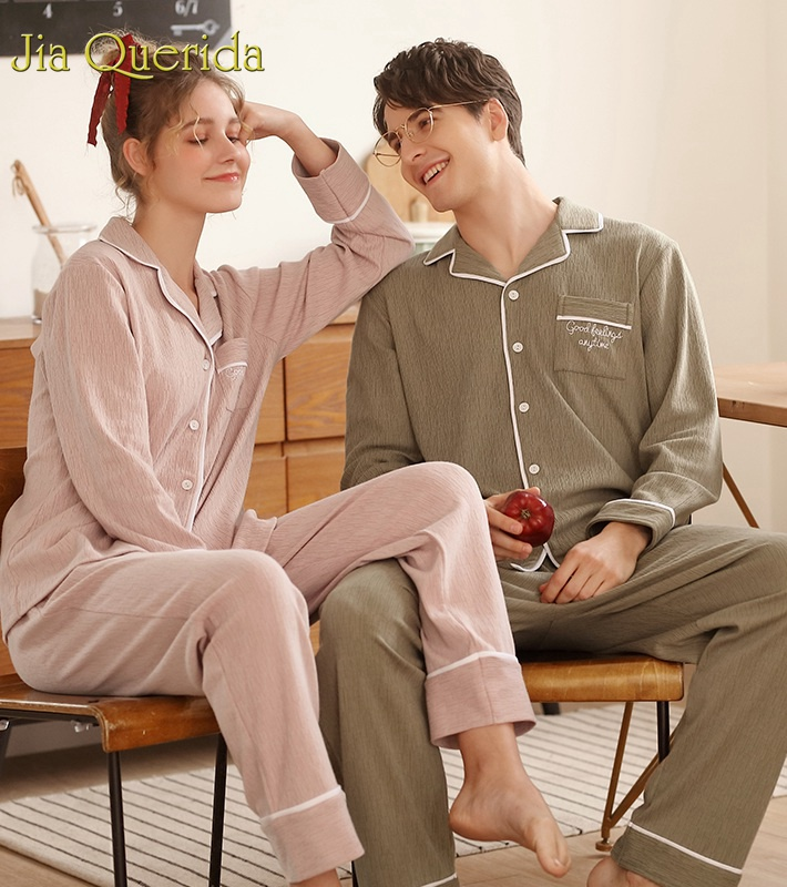 J&Q Pyjamas Men 2019 Spring Mens Home Wear Clothing 2 Pcs Fashion Sleepwear Solid Match Couples Sleep Set Gentleman Pijama Set