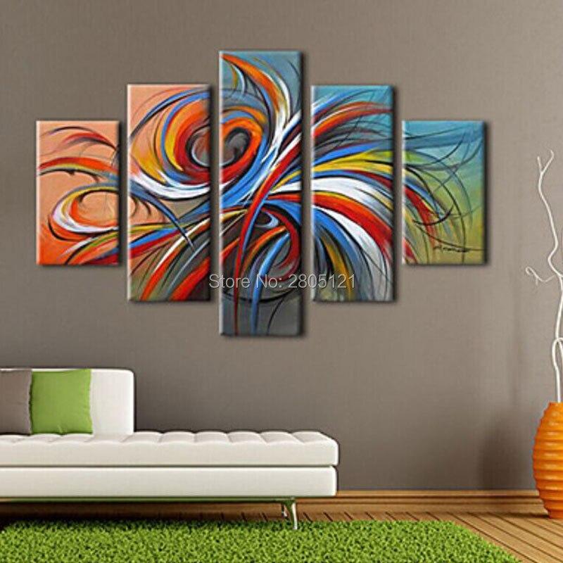 Peinture à l'huile abstraite moderne 5 pièces | Peinture à la main, ligne abstraite, art mural décontracté graffiti, ensembles d'images bon marché, idées d'art
