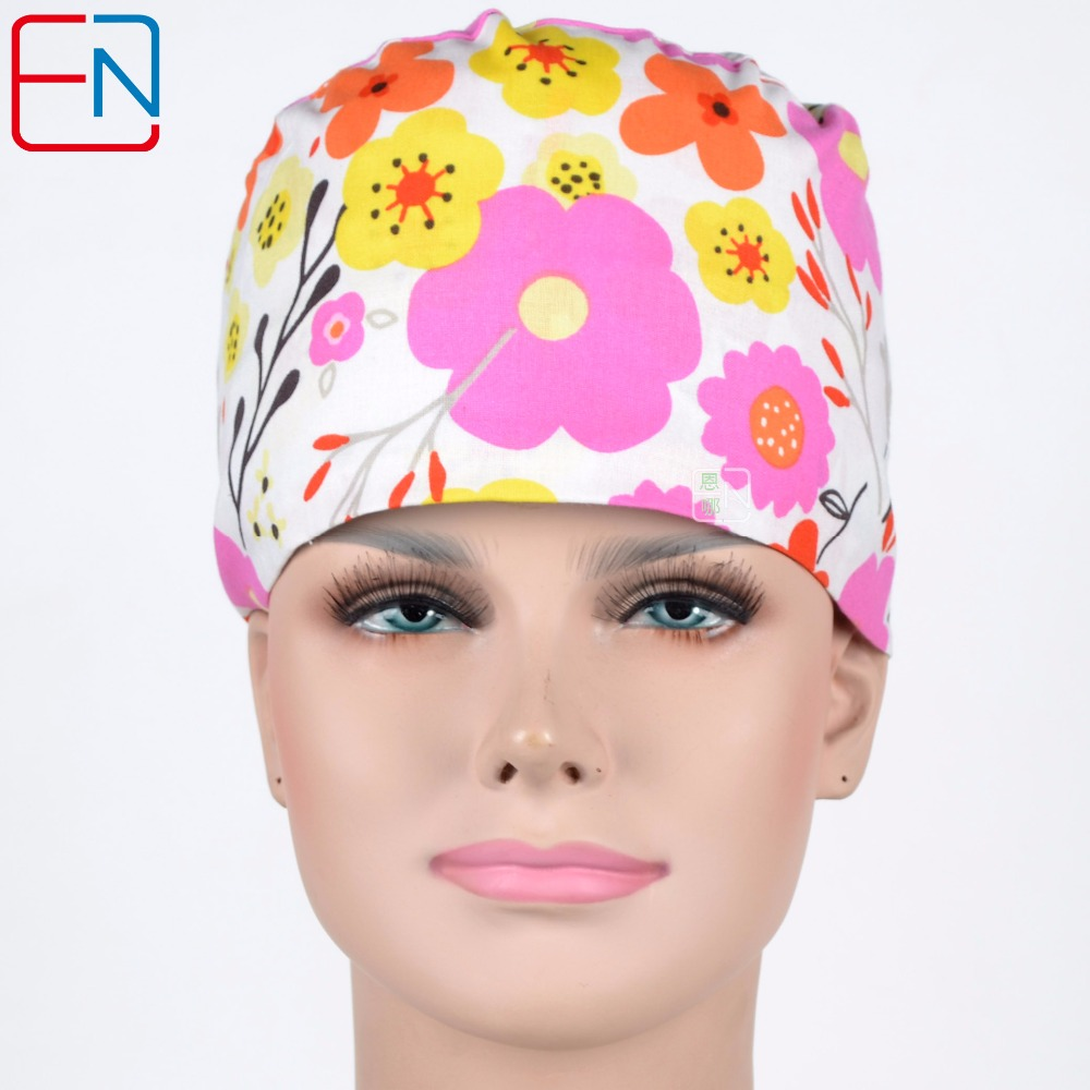 Hennar women medical caps in white with flowers,3 sizes for different head size and hair length surgical caps