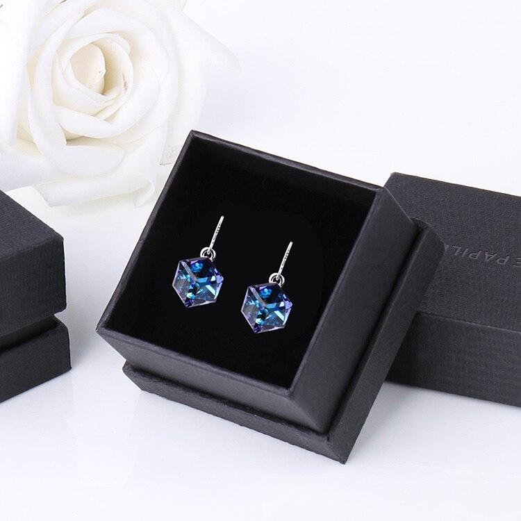 HTB13PHibqSs3KVjSZPiq6AsiVXa8 Warme Farben Crystal from Swarovski 925 Silver Earrings Drop Earring Square Cube Dangle Earring Fine Jewelry Gift Lady Brincos