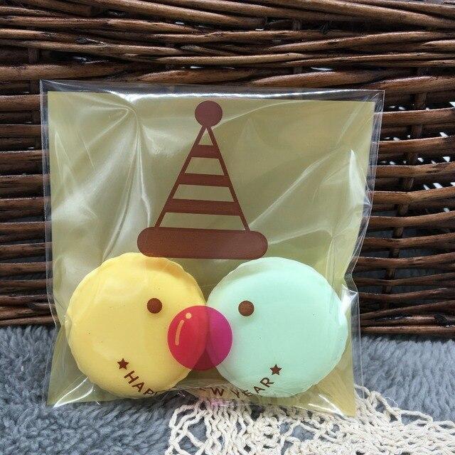 Christmas series christmas elk big self-adhesive bread packing bags diy gift packaging bag candy bag 10*11cm+3cm