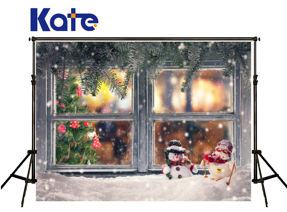 Kate Christmas Backdrop Photography Windows Snow Foto Achtergrond Kerst Tree Red Bell Photocall Backgrounds For Photo Studio custom wallpaper murals ceiling the night sky for the living room bedroom ceiling wall waterproof papel de parede