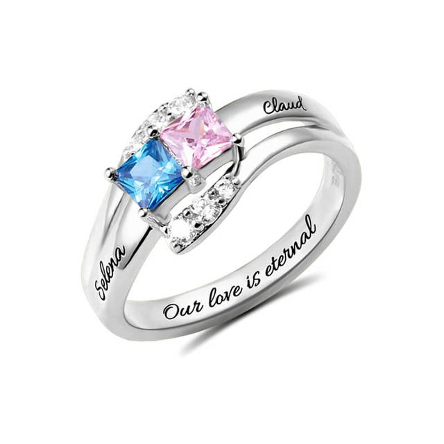 c47b43d78b AILIN Personalized Two Birthstones Ring 925 Sterling Silver Engraved Name  Ring Unique Design Ring For Women