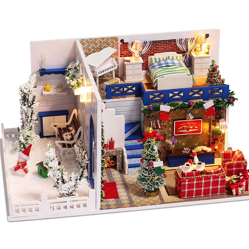 Blue Christmas Doll House Miniature Scene Wooden Puzzle DIY Toys Dollhouse Furniture Toys for Children Christmas Birthday Gifts in Doll Houses from Toys Hobbies