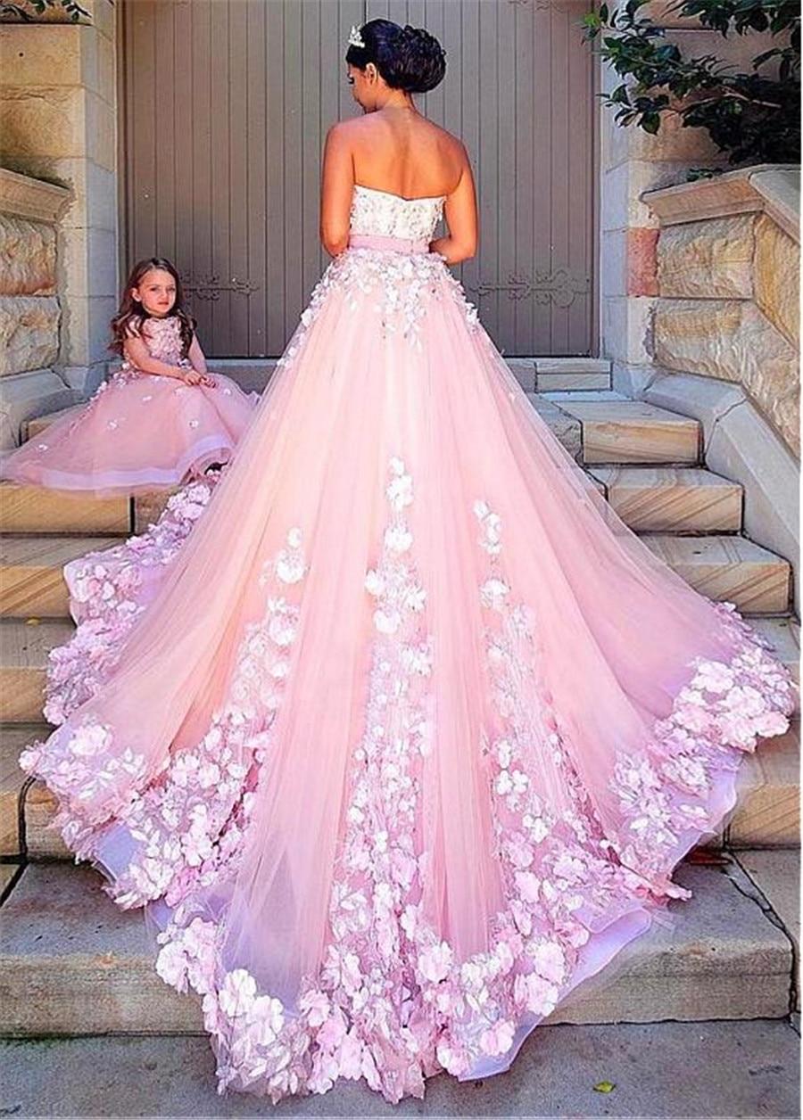 Delicate Pink Tulle Strapless A-line Wedding Dress With Beaded Lace Appliques Bowknot Sofuge Vestido De Noiva Dubai Arabic Sukni