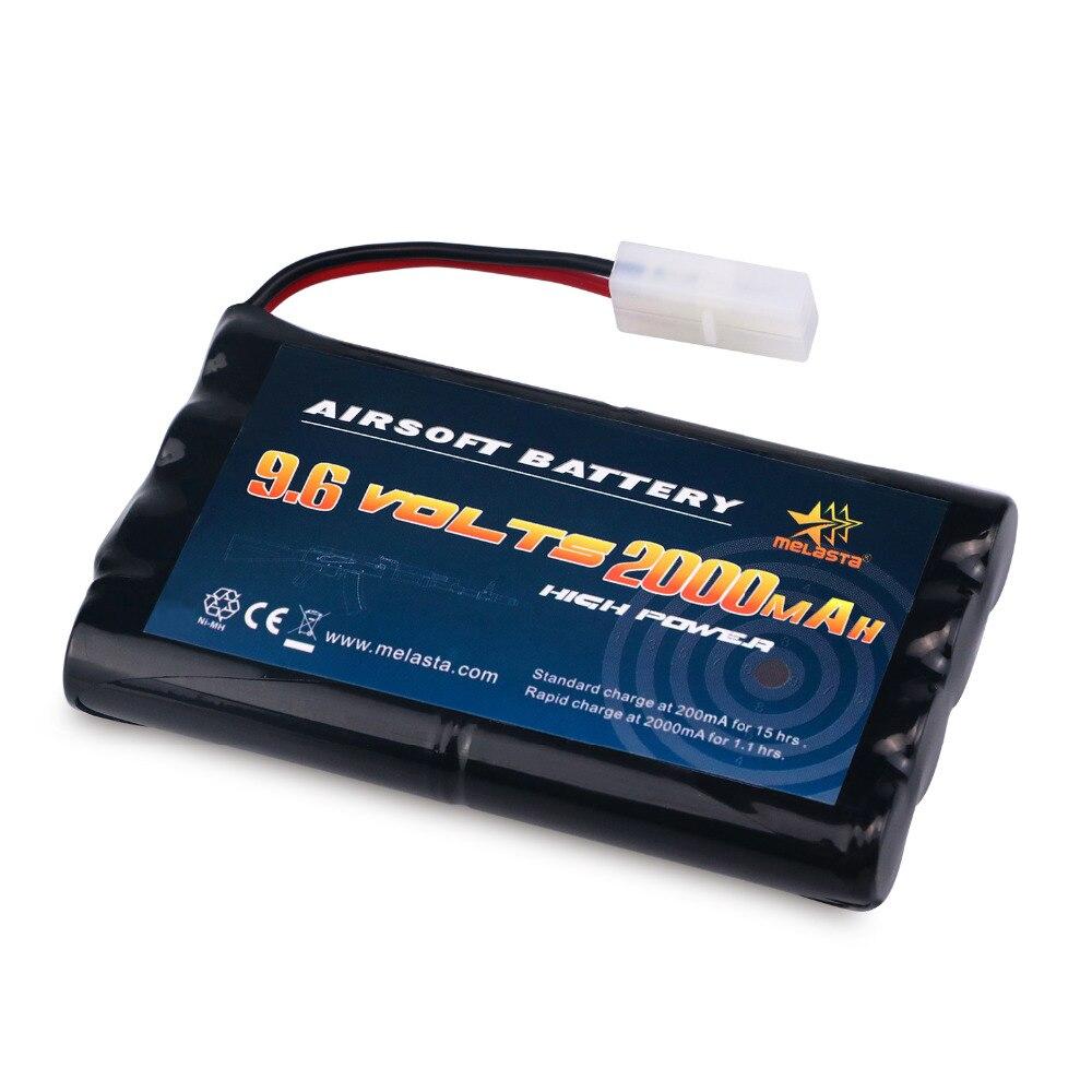 Melasta AA 9,6 V 2000 mAh Paquete de batería NiMH con conector Tamiya para coches RC barcos RC Gadgets armas de Airsoft