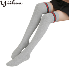 Womens autumn and winter new cotton stripe knee stockings female Japanese thin students double needle