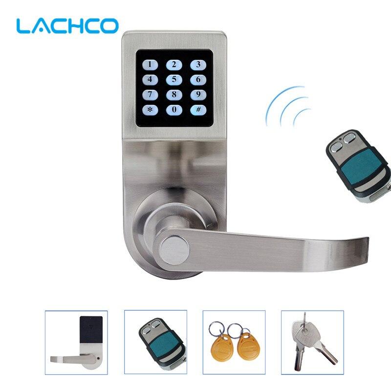 LACHCO Hide Key Digital Keypad Door Lock Remote Control Password Card Key Spring Bolt Smart Electronic