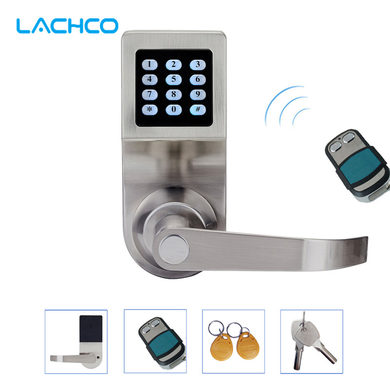 LACHCO Hide Key Digital Keypad Door Lock Remote Control+Password+Card+Key Spring Bolt Smart Electronic Lock  L16086BSRM