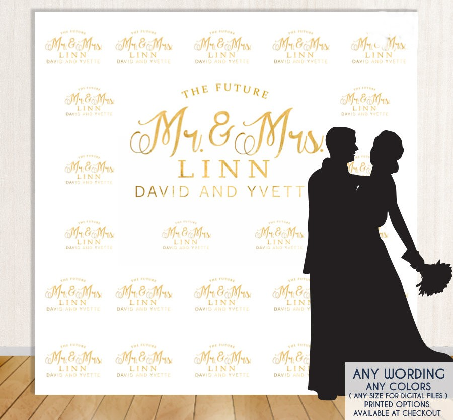 custom gold step and repeat engagement backdrop High quality Computer print wedding backgrounds