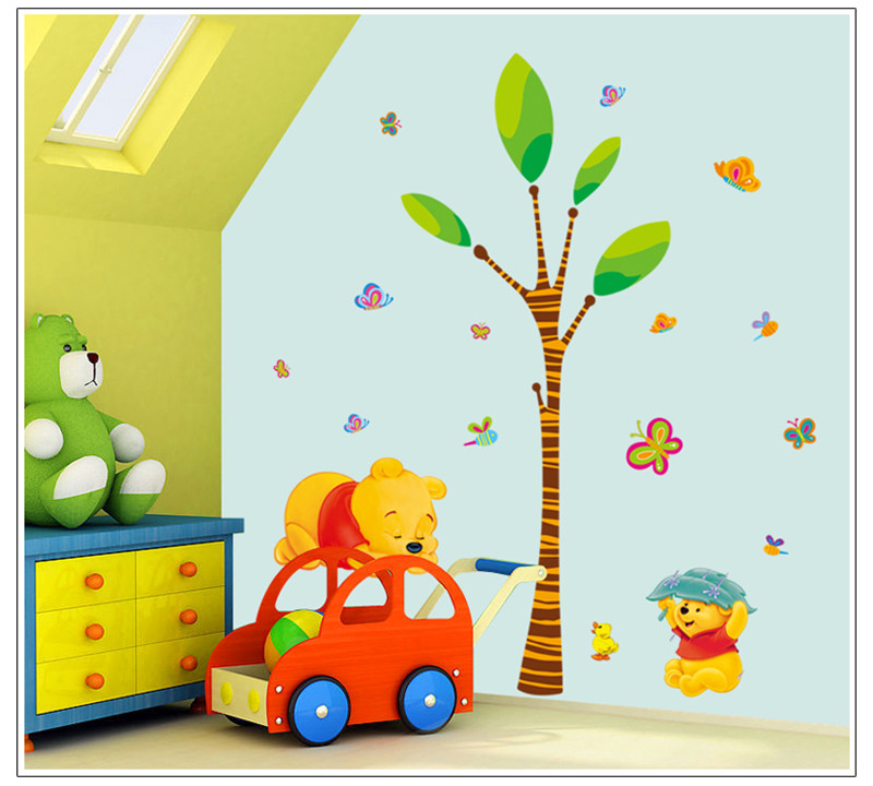 Cartoon Children Room Trees And Bear Pattern Wall Sticker For Kids Room-Free Shipping For Kids Rooms tree wall decal