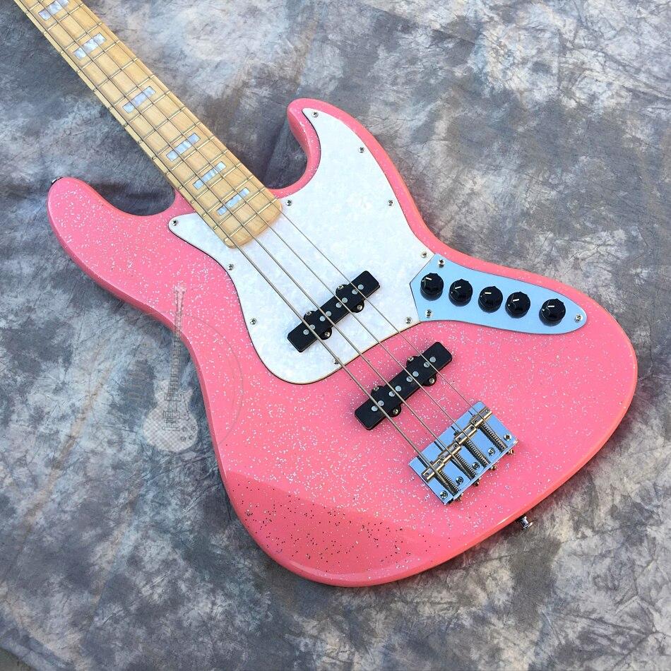 Livraison gratuite, guitare électrique les fabricants chinois produisent guitare électrique, guitare basse 4 cordes rose, peut être personnalisé.