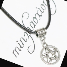 Pentagram Star Charm Pendant Necklace - Wiccan Pagan Gothic Vintage Antique Silver Black Rubber Rope Chain thailand imports cool black star silver pendant