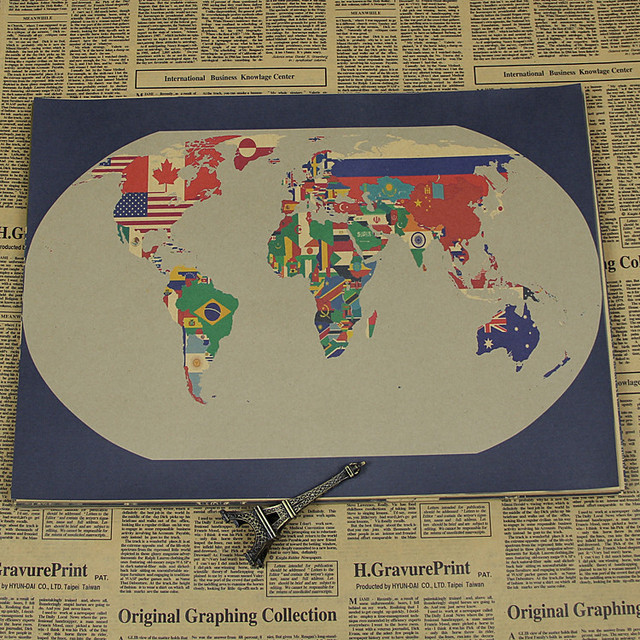 Nph 127 retro vintage poster kraft paper about the world map nph 127 retro vintage poster kraft paper about the world map painting wall art gumiabroncs Images