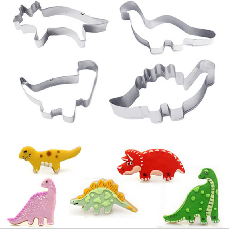 Newest 4PCS/Set Dinosaur Cake Cutter Kid Child Favorite Cartoon Biscuit Cookie Cutter Sets Summer Stainless Steel Cake Molds
