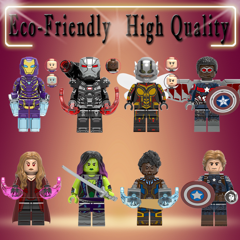 Super Heroes Marvel Avengers Endgame Iron Man Thanos Thor War Machine Spiderman Captain America Hulk Building Blocks Toy X0263