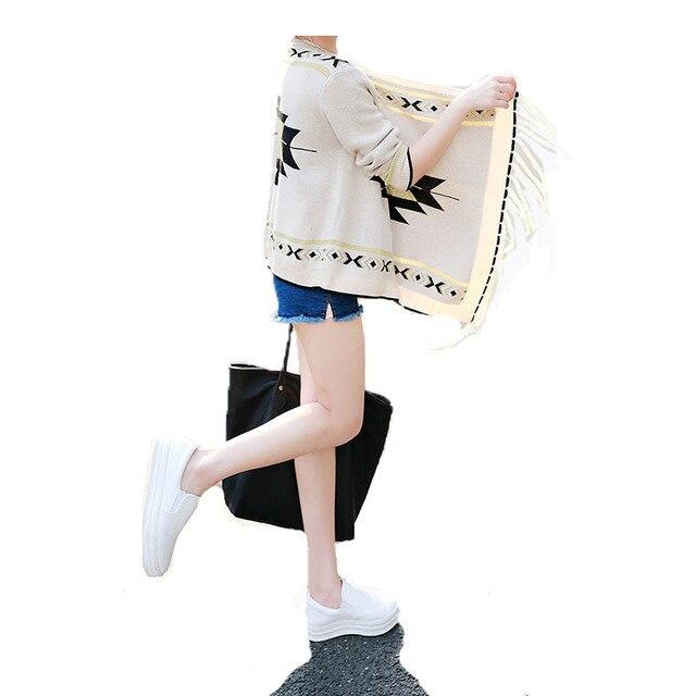 Mujeres suéter delgado chal 2015 hizo punto largo manga patrones de ...