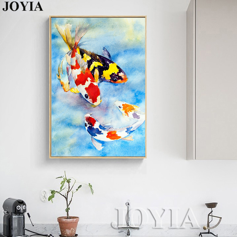 Aliexpress.com : Buy Colorful Carps Fishes Painting Koi Fish Wall ...