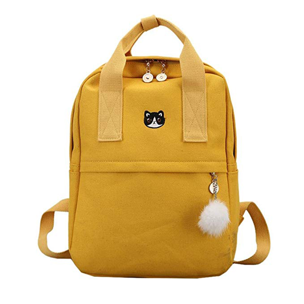Girl Canvas Student Backpack Backpack School Bag With Hairball Satchel Cute Embroidery Pack College Wind Backpack