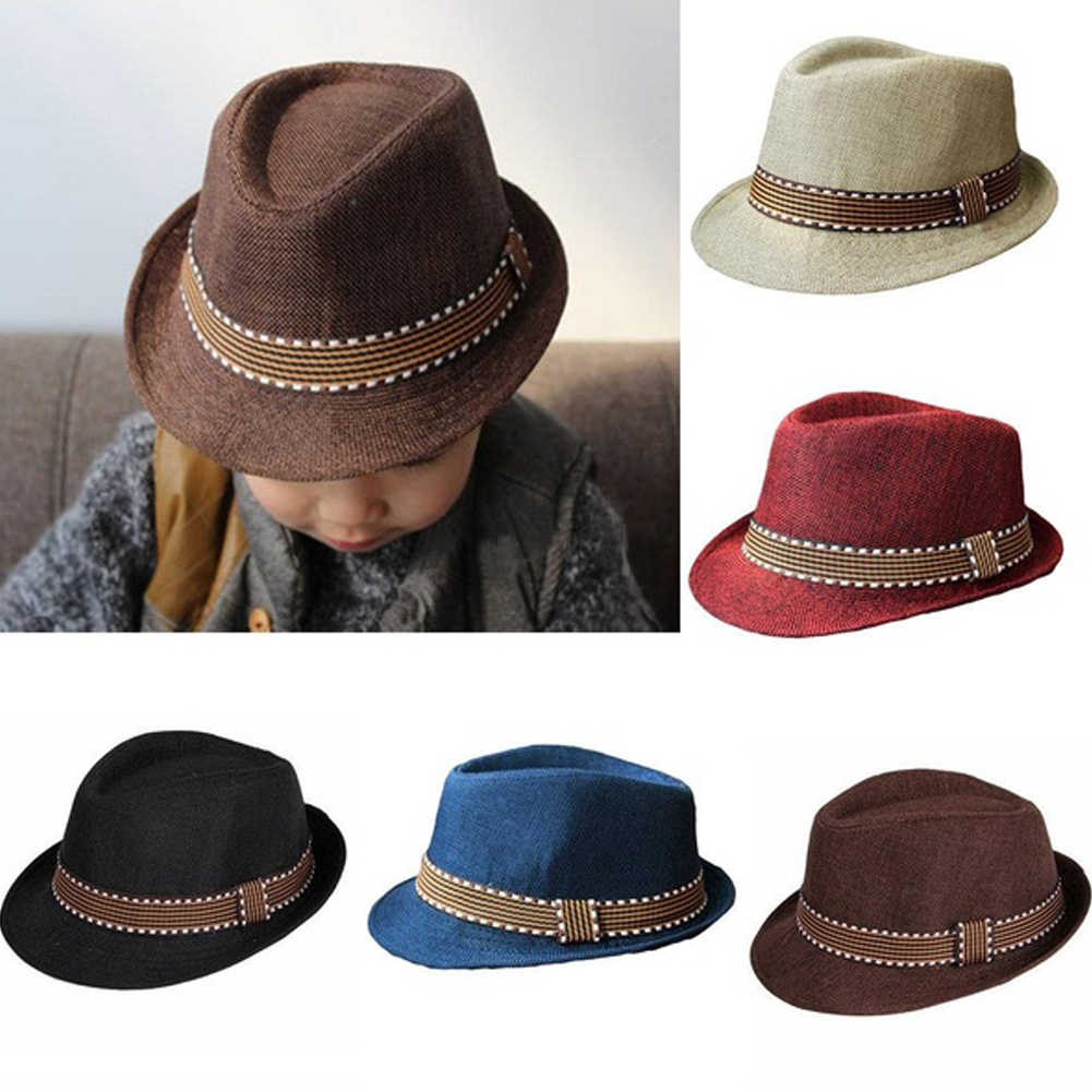 Fashion Baby Hat Baby Cap Children Kid Summer Beach Straw Hat Jazz Cap For Boy Girl Outdoor Hat Photography Prop Trilby Sunhat