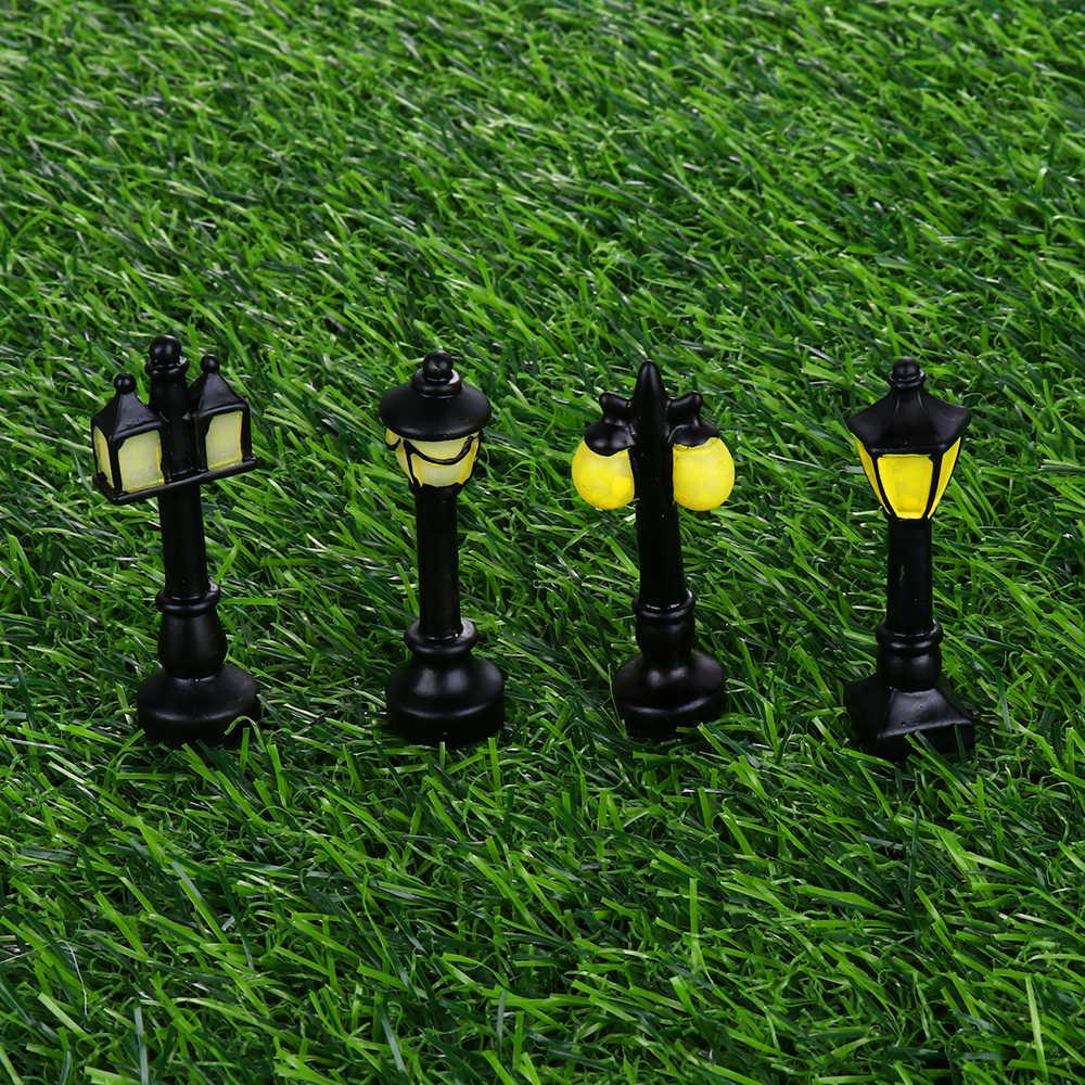 8 スタイル樹脂クラフトミニ街路灯ランプアンティーク模造妖精ガーデンホームミニチュアジャルダンテラリウム装飾マイクロ風景