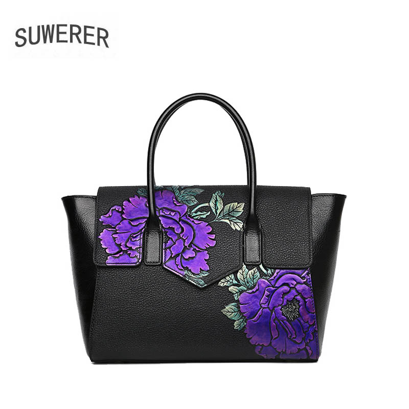 2018 New women bag genuine leather brands Handmade Embossing flower fashion cowhide handbags tote women leather shoulder bags