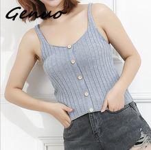Genuo New Ladies Button Up Rib Knit Plain Top 2019 New Arrival Scoop Neck Vacation Vest Women Autumn Skinny Casual Camisole недорого