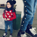 Kids 2015 new winter Korean girls pearl Slim plus velvet jeans casual trousers