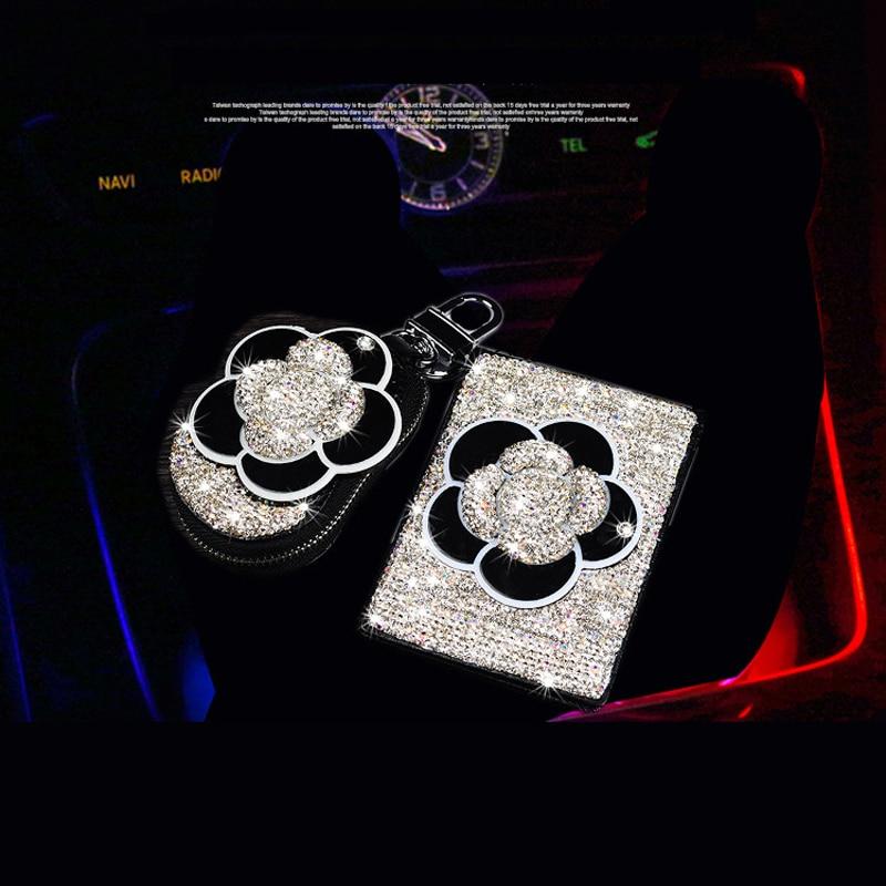 Luxury Fashion Crystal Diamond Flower Key Bag Rhinestone Women Key Case Crystal Driver License Card Holder
