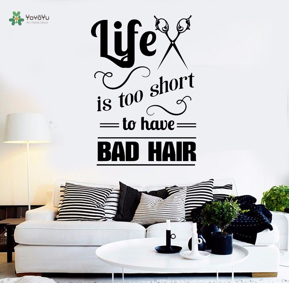 Décoration Murale Vinyle Us 7 43 25 Off Yoyoyu Wall Decal Hair Salon Quote Wall Sticker Hairdresser Stylist Decor Mural Vinyl Art Removeable Room Decoration Yo296 In Wall