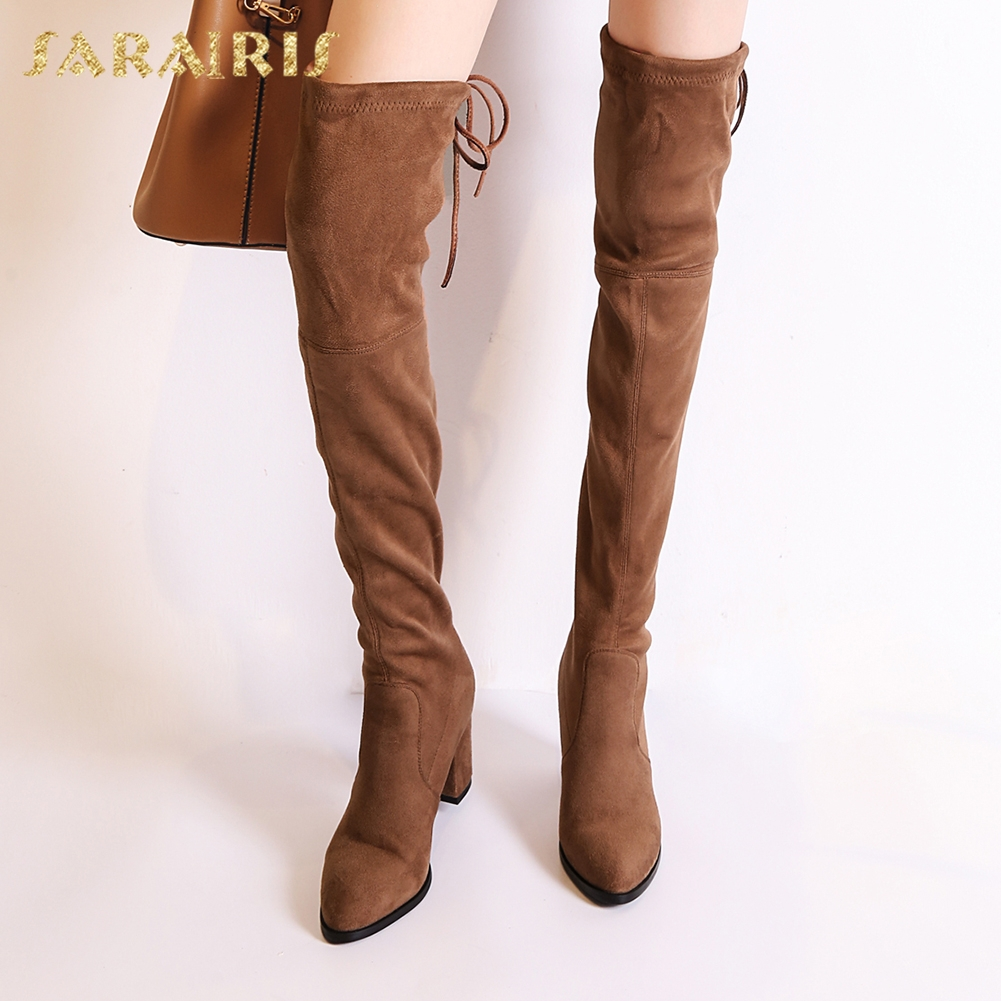 SARAIRIS 2018 Large Sizes 34-43 Stretch Fabric Fashion Woman Boots High Heels womens Shoes Woman over-the-knee Boots