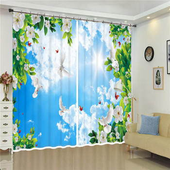 3D Blackout curtain beautiful Seagull Flying in Blue sky Bright Sunshie 3D Window Curtains For Bedroom Living room Curtains