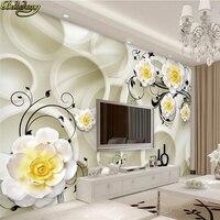 Beibehang Custom Photo Wallpaper Large Mural Wallpaper 3D Circle Romantic Fashion Yellow Flower Pattern Background Wall