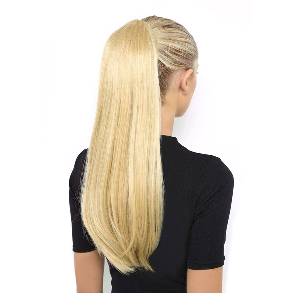 HiDoLA Womens Girls One Piece Elegant Long Straight Wavy Ponytail Wigs Clip in PonyTail Hair Extensions headwear in Women 39 s Hair Accessories from Apparel Accessories