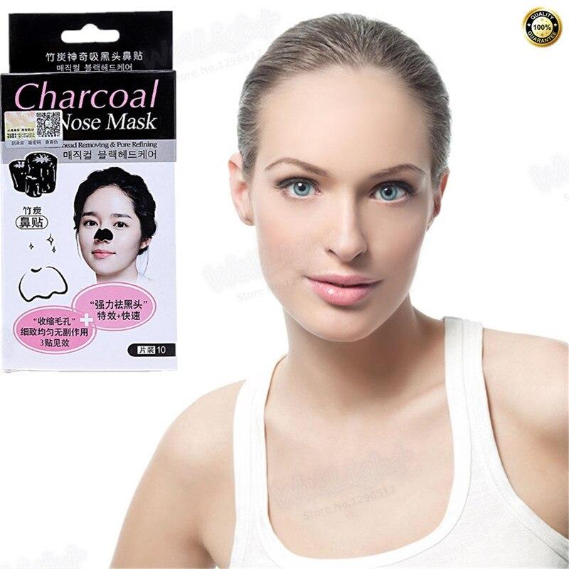 Discount 10Pcs Face Skin Care Suction Black Mask Nose Blackhead Remover Acne Treatment Mask Peeling off Black Head Facial Mask