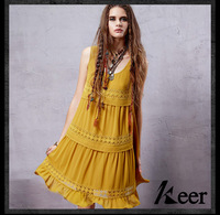 Spain Style Bohemian Brand Sleeveless O Neck Lace Yellow Dress For Women Girls Summer Hippie Boho
