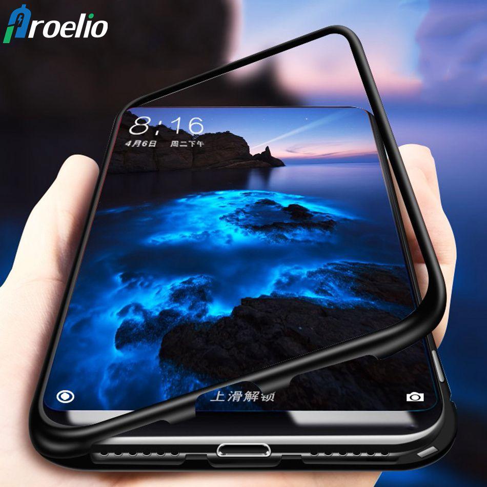 Magnetische Adsorption Telefon Fall für Samsung Galaxy S8 S9 Plus S7 Hinweis 8 Gehärtetem Glas Zurück Abdeckung Metall Fällen Für iPhone Xs Max
